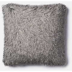 Loloi Rugs, Celeste Collection, Linen and Lurex Shaggy Pillow, Gray, Pink And White