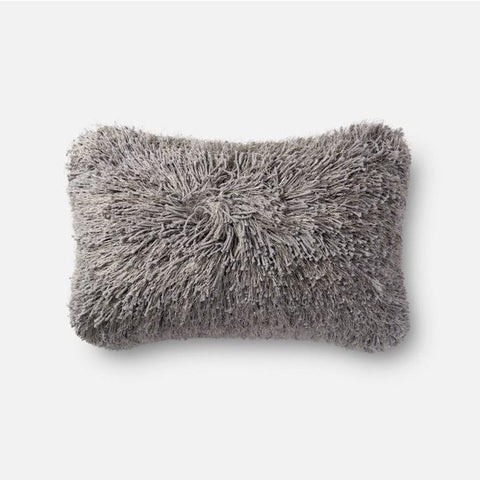 Loloi Rugs, Celeste Collection, Linen and Lurex Shaggy Pillow, Gray, Pink And White-Warm Fuzzies Place