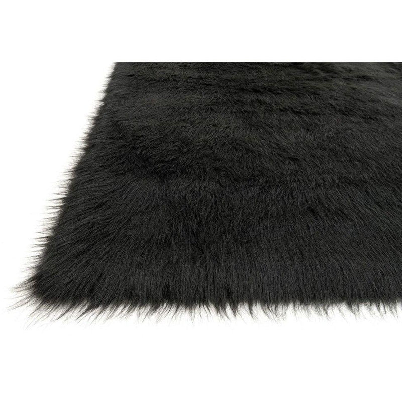 Loloi Rugs, Danso Collection, DA-04 Black Faux Fur Area Rug-Warm Fuzzies Place