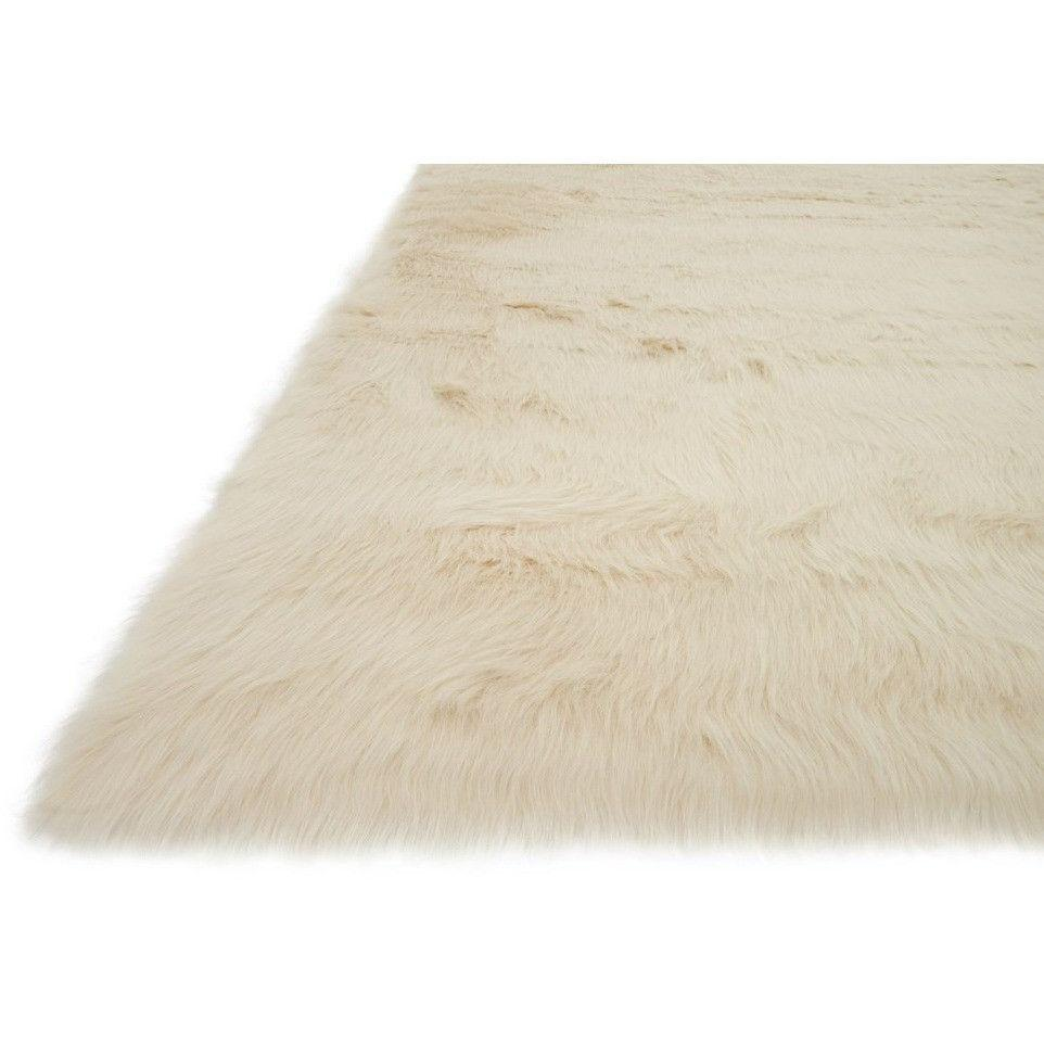 Loloi Rugs, Danso Collection, DA-04 Bone Beige Faux Fur Area Rug-Warm Fuzzies Place