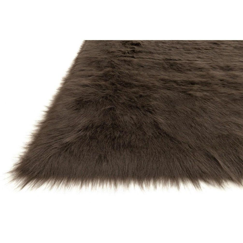 Loloi Rugs, Danso Collection, DA-04 Expresso Brown Faux Fur Area Rug-Warm Fuzzies Place
