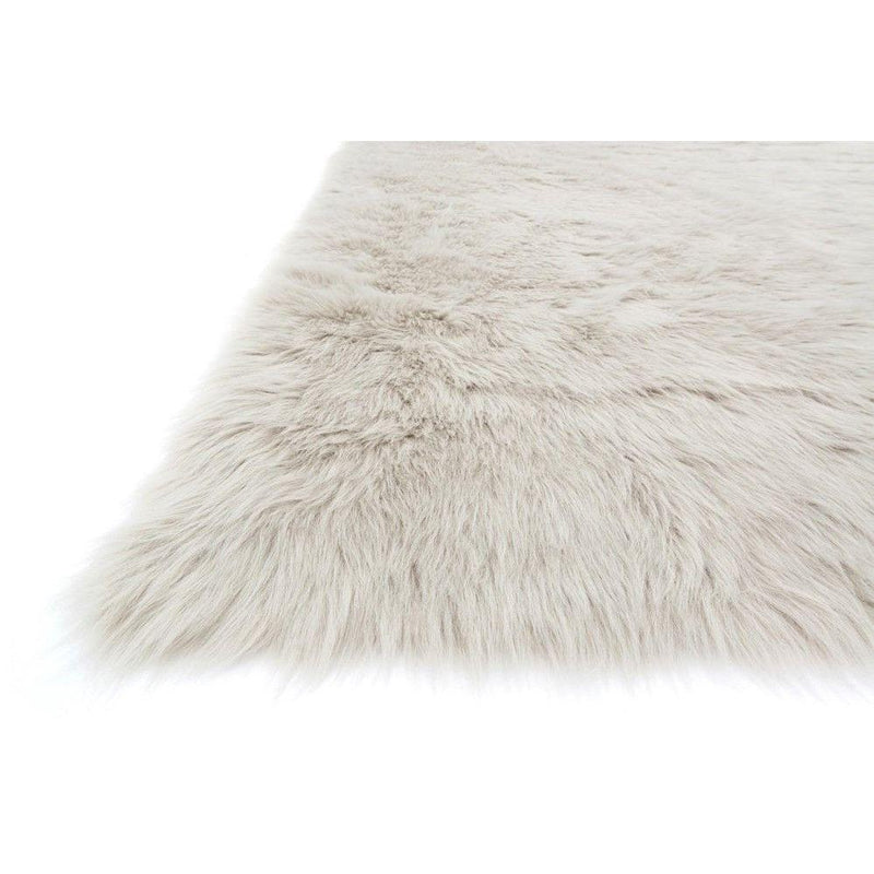 Loloi Rugs, Danso Collection, DA-04 Stone Gray & Beige Faux Fur Area Rug-Warm Fuzzies Place