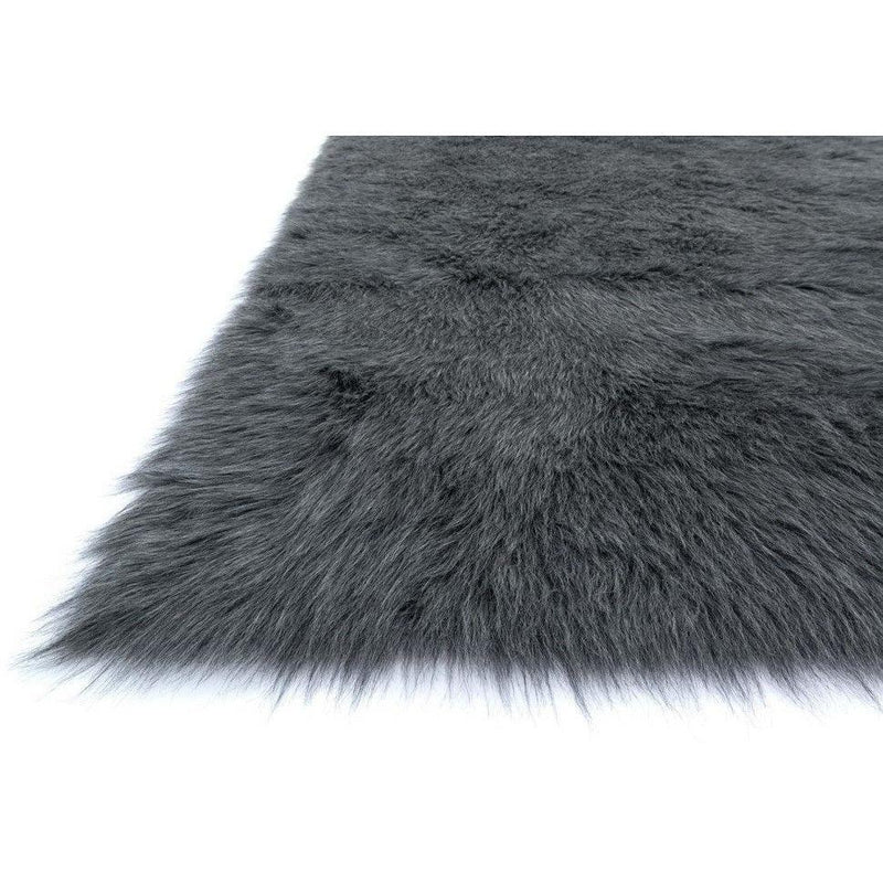 Loloi Rugs, Danso Collection, DA-09 Graphite Gray & Black Faux Fur Area Rug-Warm Fuzzies Place