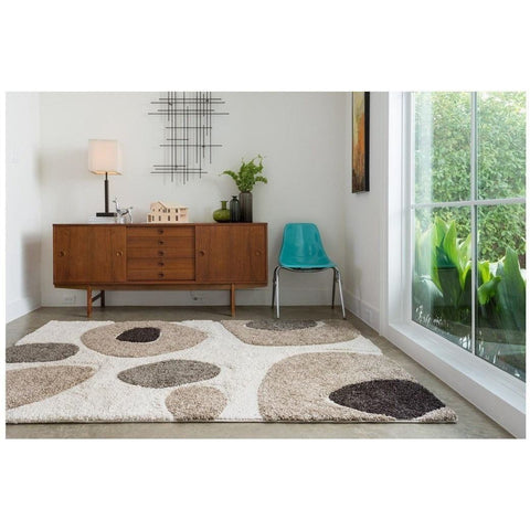 Loloi Rugs, Enchant EN-04 High-Low Shag Area Rug, Ivory/Multi-Warm Fuzzies Place