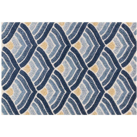 Loloi Rugs, Enchant EN-18 High-Low Shag Area Rug, Ivory/Blue-Warm Fuzzies Place
