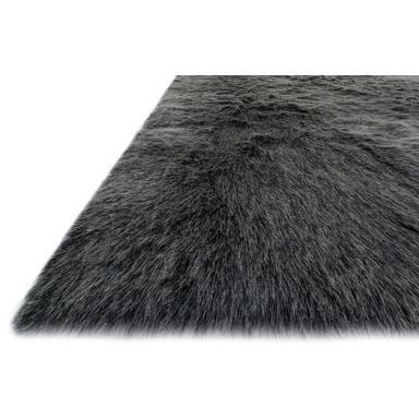 Loloi Rugs, Finley Collection, FN-01 Black & Charcoal Faux Fur Two-Toned Rug-Warm Fuzzies Place