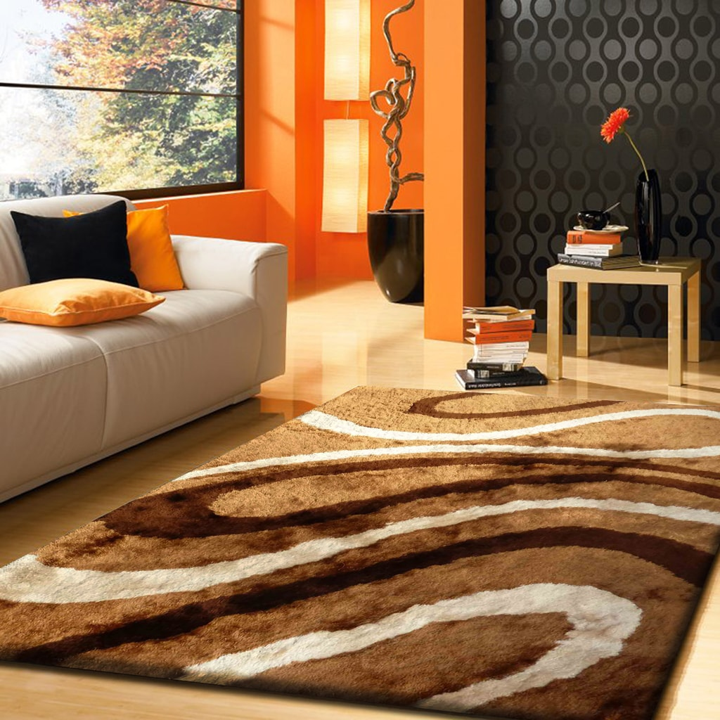 Rug Factory Plus, Shaggy Viscose Area Rug, Design 8002 Marbel