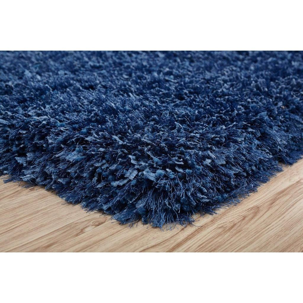 Shag Rug - Rug Factory Plus, Crystal Shag Collection, Blue Hand-Tufted Vibrant Area Rug