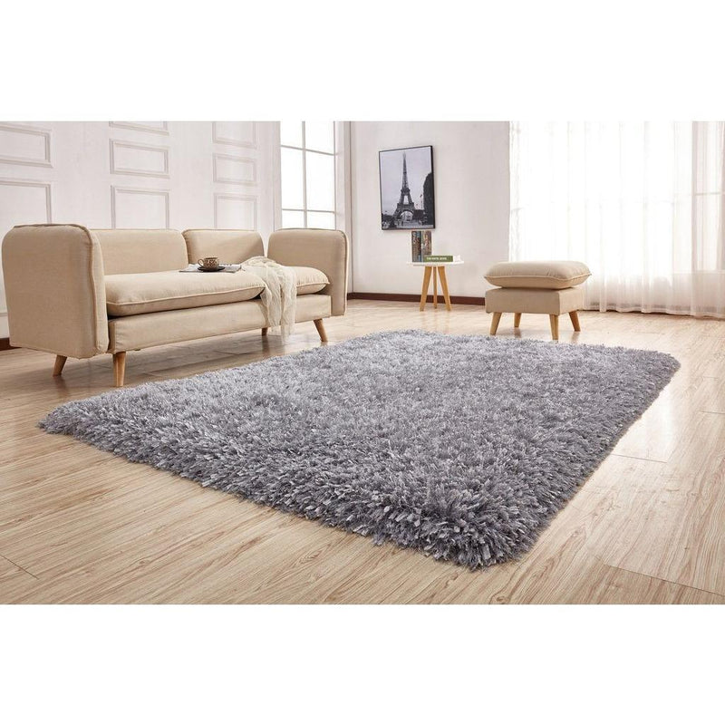 Shag Rug - Rug Factory Plus, Crystal Shag Collection, Silver Hand-Tufted Vibrant Area Rug