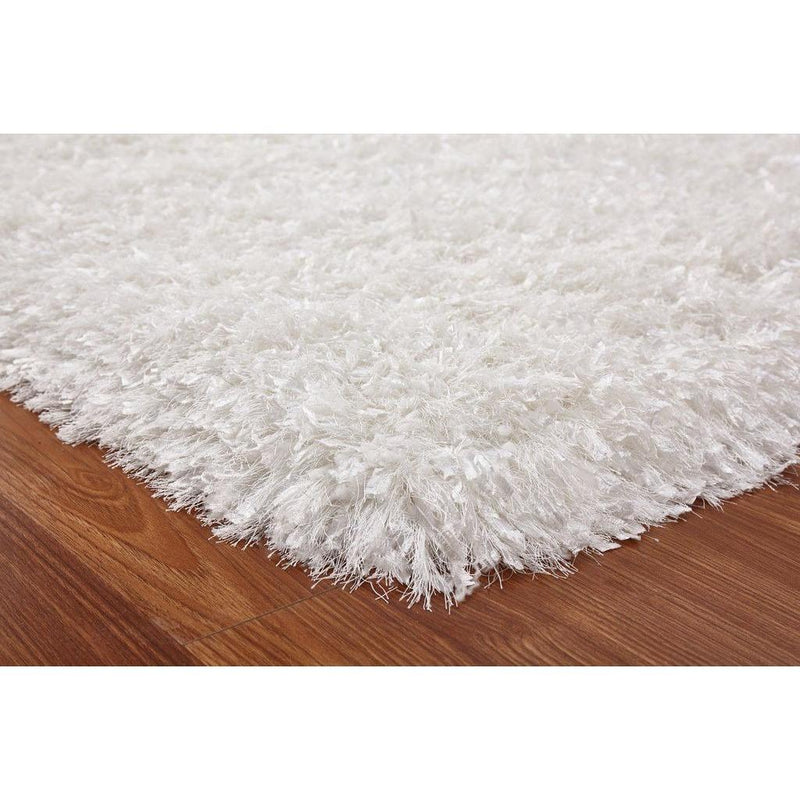 Shag Rug - Rug Factory Plus, Crystal Shag Collection, White Hand-Tufted Vibrant Area Rug