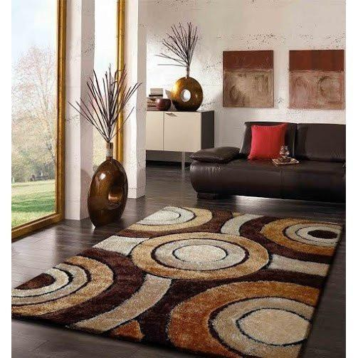 Shag Rug - Rug Factory Plus, Living Shag Collection, Design 110 Brown Area Rug
