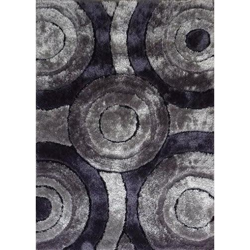 Shag Rug - Rug Factory Plus, Living Shag Collection, Design 110 Gray & Black Area Rug