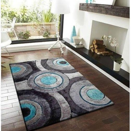Shag Rug - Rug Factory Plus, Living Shag Collection, Design 110 Gray & Blue Area Rug