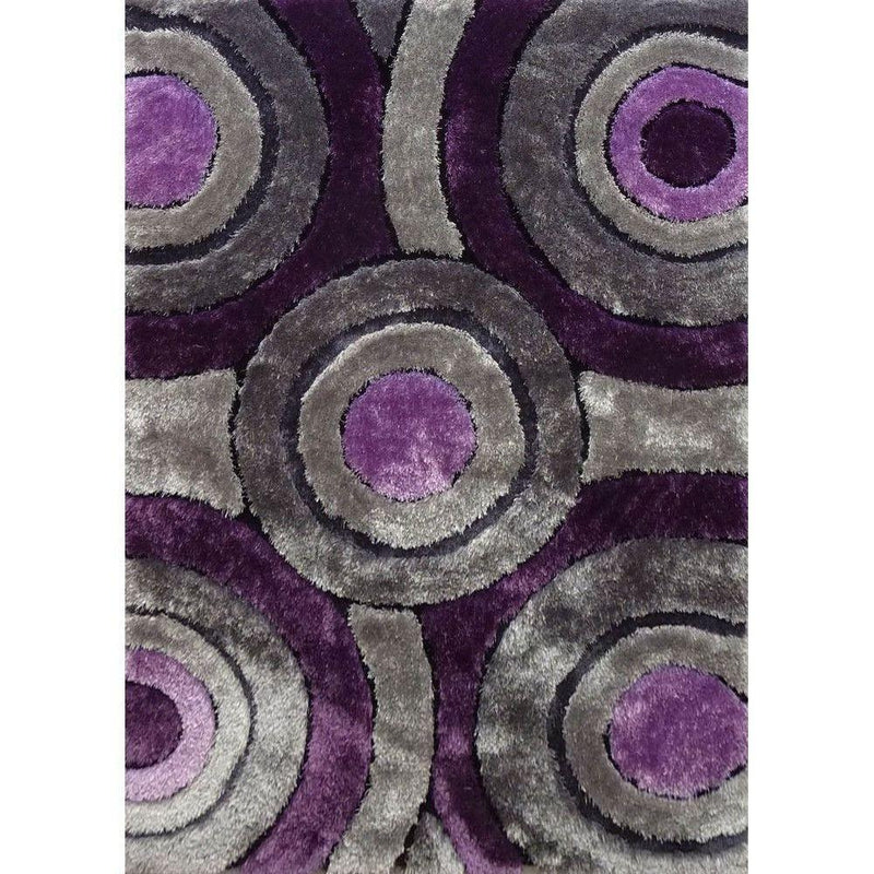 Shag Rug - Rug Factory Plus, Living Shag Collection, Design 110 Purple & Gray Area Rug