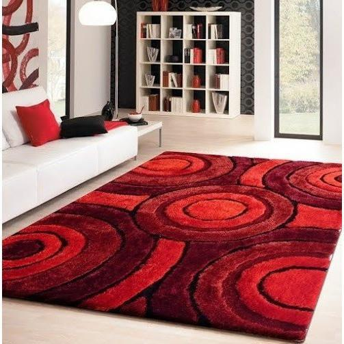 Shag Rug - Rug Factory Plus, Living Shag Collection, Design 110 Red Area Rug