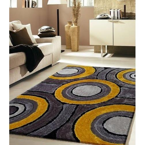 Shag Rug - Rug Factory Plus, Living Shag Collection, Design 110 Yellow & Gray Area Rug