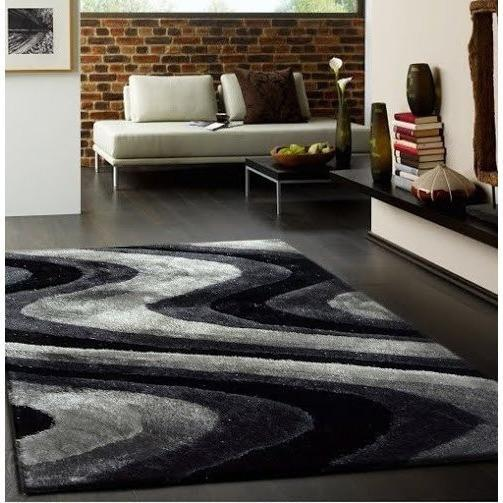 Shag Rug - Rug Factory Plus, Living Shag Collection, Design 112 Black & Gray Area Rug