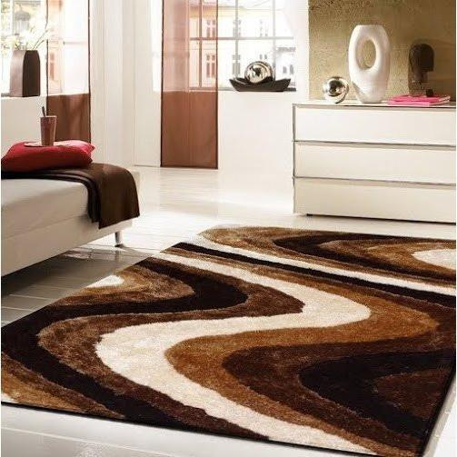 Shag Rug - Rug Factory Plus, Living Shag Collection, Design 112 Brown Area Rug