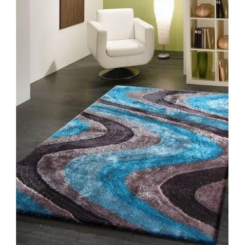 Shag Rug - Rug Factory Plus, Living Shag Collection, Design 112 Gray & Blue Area Rug