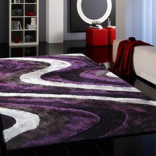 Shag Rug - Rug Factory Plus, Living Shag Collection, Design 112 Gray & Purple Area Rug