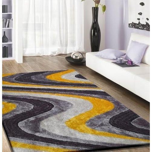 Shag Rug - Rug Factory Plus, Living Shag Collection, Design 112 Gray & Yellow Area Rug