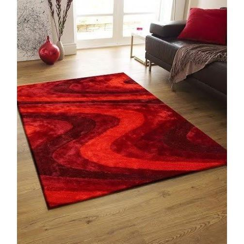 Shag Rug - Rug Factory Plus, Living Shag Collection, Design 112 Red Area Rug