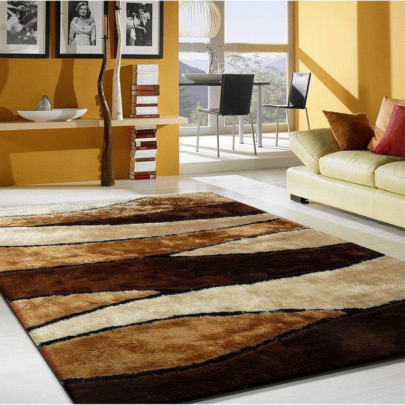 Shag Rug - Rug Factory Plus, Living Shag Collection, Design 120 Brown Area Rug