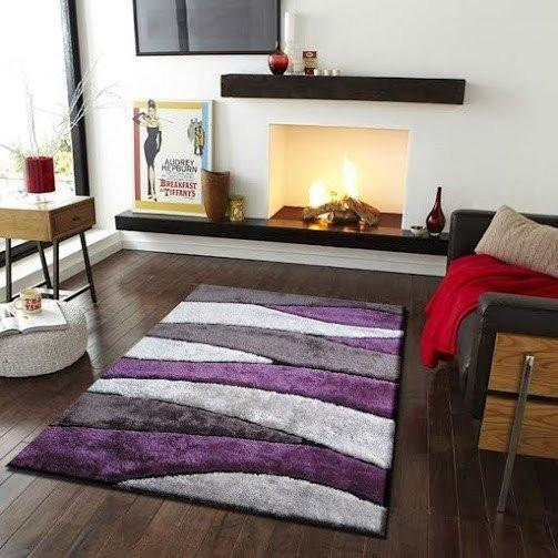Shag Rug - Rug Factory Plus, Living Shag Collection, Design 120 Gray & Purple Area Rug