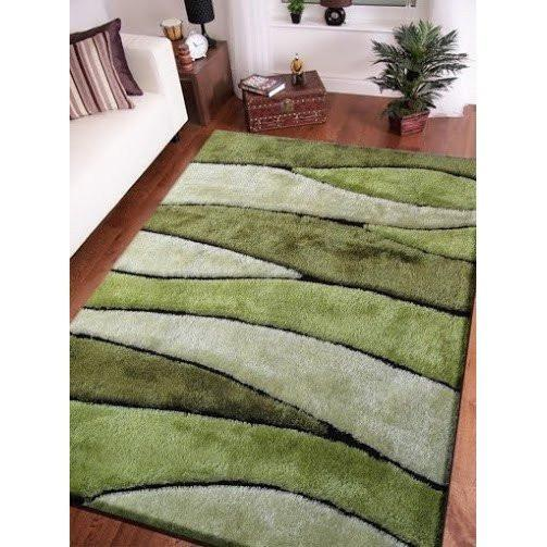 Shag Rug - Rug Factory Plus, Living Shag Collection, Design 120 Green Area Rug