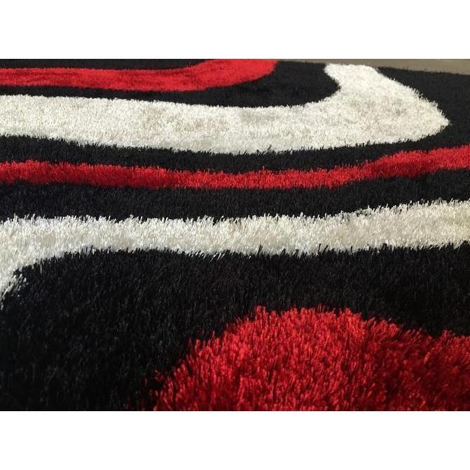 Shag Rug - Rug Factory Plus, Lo La Shag 002 Red Black Area Rug