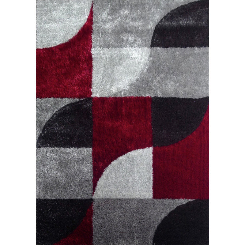 Shag Rug - Rug Factory Plus, Lo La Shag 13 Gray Red Area Rug