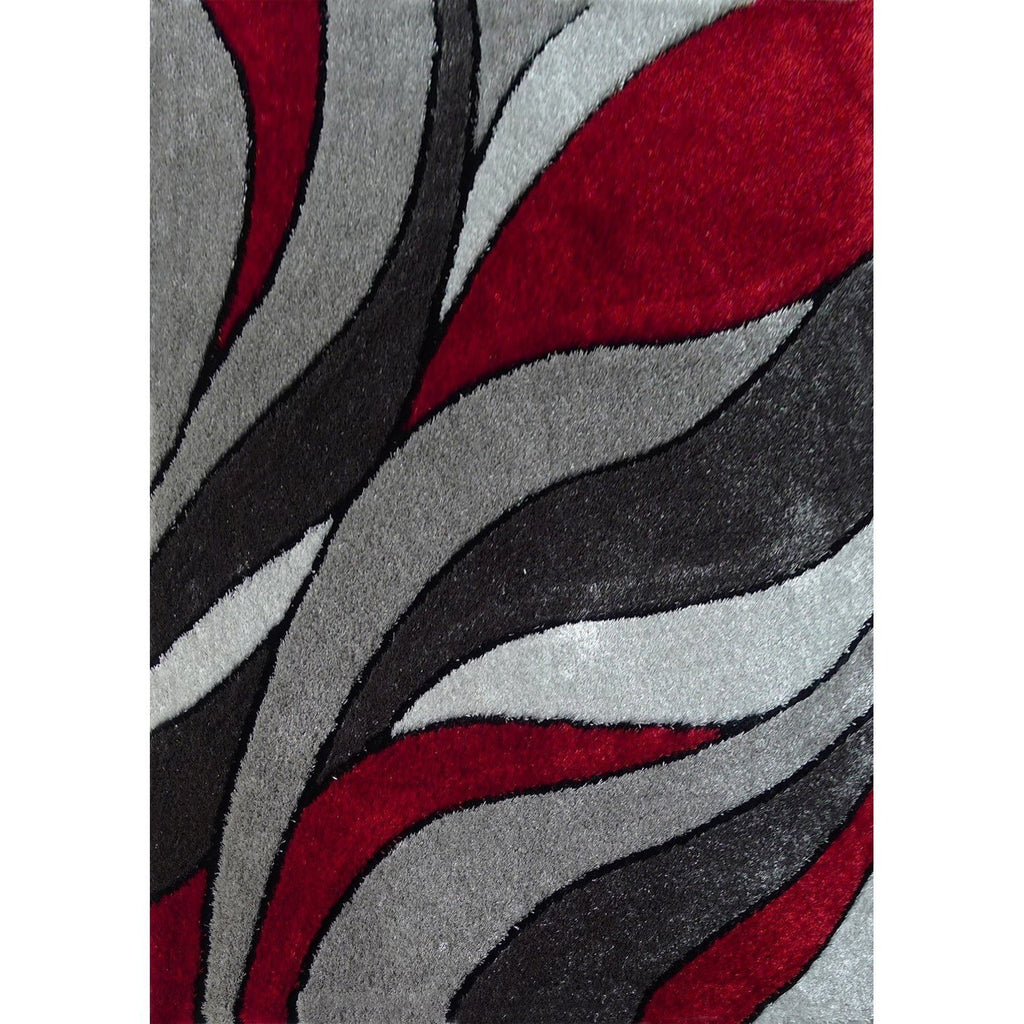 Shag Rug - Rug Factory Plus, Lo La Shag 16 Gray Red Area Rug