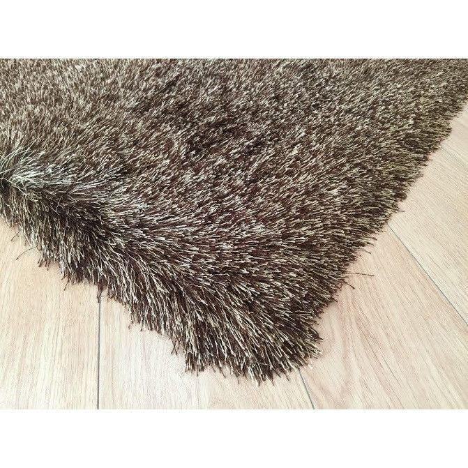 Shag Rug - Rug Factory Plus, Lurex Shag Collection, 2 Tone Brown Long Pile Shag Area Rug