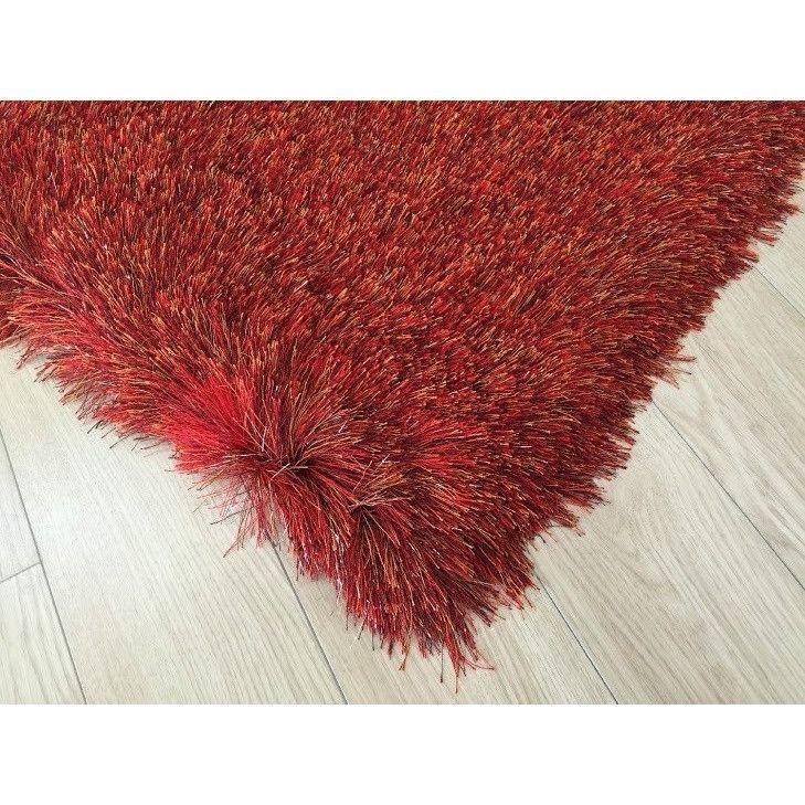 Shag Rug - Rug Factory Plus, Lurex Shag Collection, 2 Tone Red Long Pile Shag Area Rug