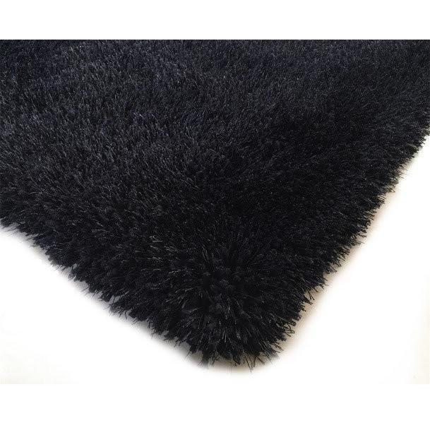 Shag Rug - Rug Factory Plus, Shaggy Viscose Solid Collection, Black Shag Area Rug