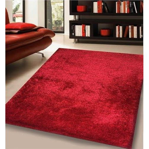 Shag Rug - Rug Factory Plus, Shaggy Viscose Solid Collection, Red Shag Area Rug
