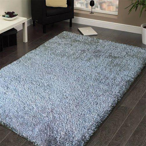 Shag Rug - Rug Factory Plus, Shaggy Viscose Solid Collection, Silver Shag Area Rug