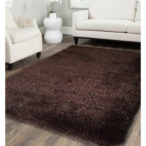 Shag Rug - Rug Factory Plus, Shaggy Viscose Solid Collection, Solid Brown Shag Area Rug