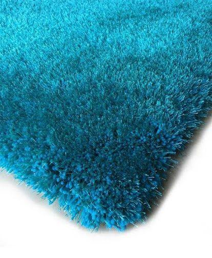 Shag Rug - Rug Factory Plus, Shaggy Viscose Solid Collection, Turquoise Shag Area Rug