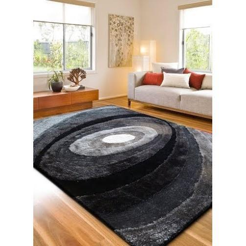 Synthetic Rug - Rug Factory Plus, Living Shag Collection, Design 105 Black & Gray Area Rug