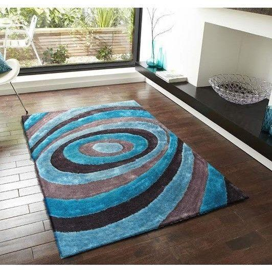 Synthetic Rug - Rug Factory Plus, Living Shag Collection, Design 105 Blue & Gray Area Rug