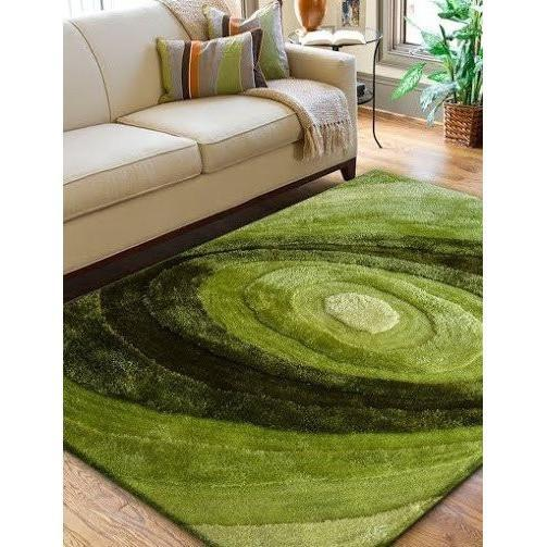Synthetic Rug - Rug Factory Plus, Living Shag Collection, Design 105 Green Area Rug