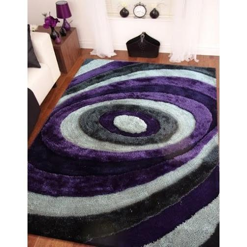 Synthetic Rug - Rug Factory Plus, Living Shag Collection, Design 105 Purple & Gray Area Rug