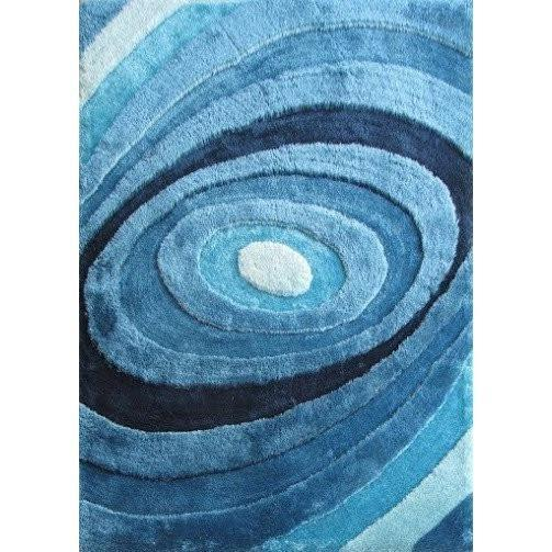Synthetic Rug - Rug Factory Plus, Living Shag Collection, Design 105 Turquoise Area Rug