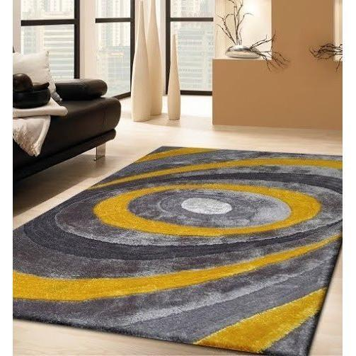Synthetic Rug - Rug Factory Plus, Living Shag Collection, Design 105 Yellow & Gray Area Rug