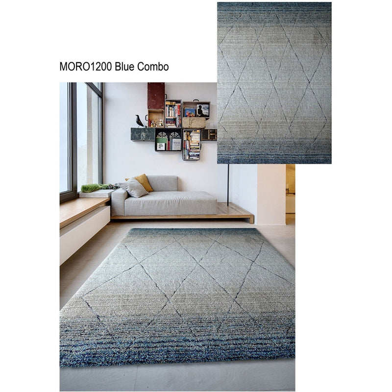 Synthetic Rug - Rug Factory Plus, Moro Shag Collection, Moro 1200 Blue Combo Area Rug