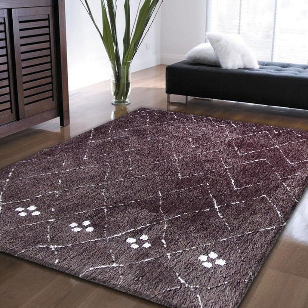 Synthetic Rug - Rug Factory Plus, Moro Shag Collection, Moro 1201 Brown Area Rug