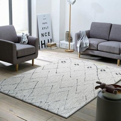 Synthetic Rug - Rug Factory Plus, Moro Shag Collection, Moro 1201 White Area Rug