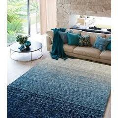 Synthetic Rug - Rug Factory Plus, Moro Shag Collection, Moro 1202 Multi Blue Ombre Area Rug