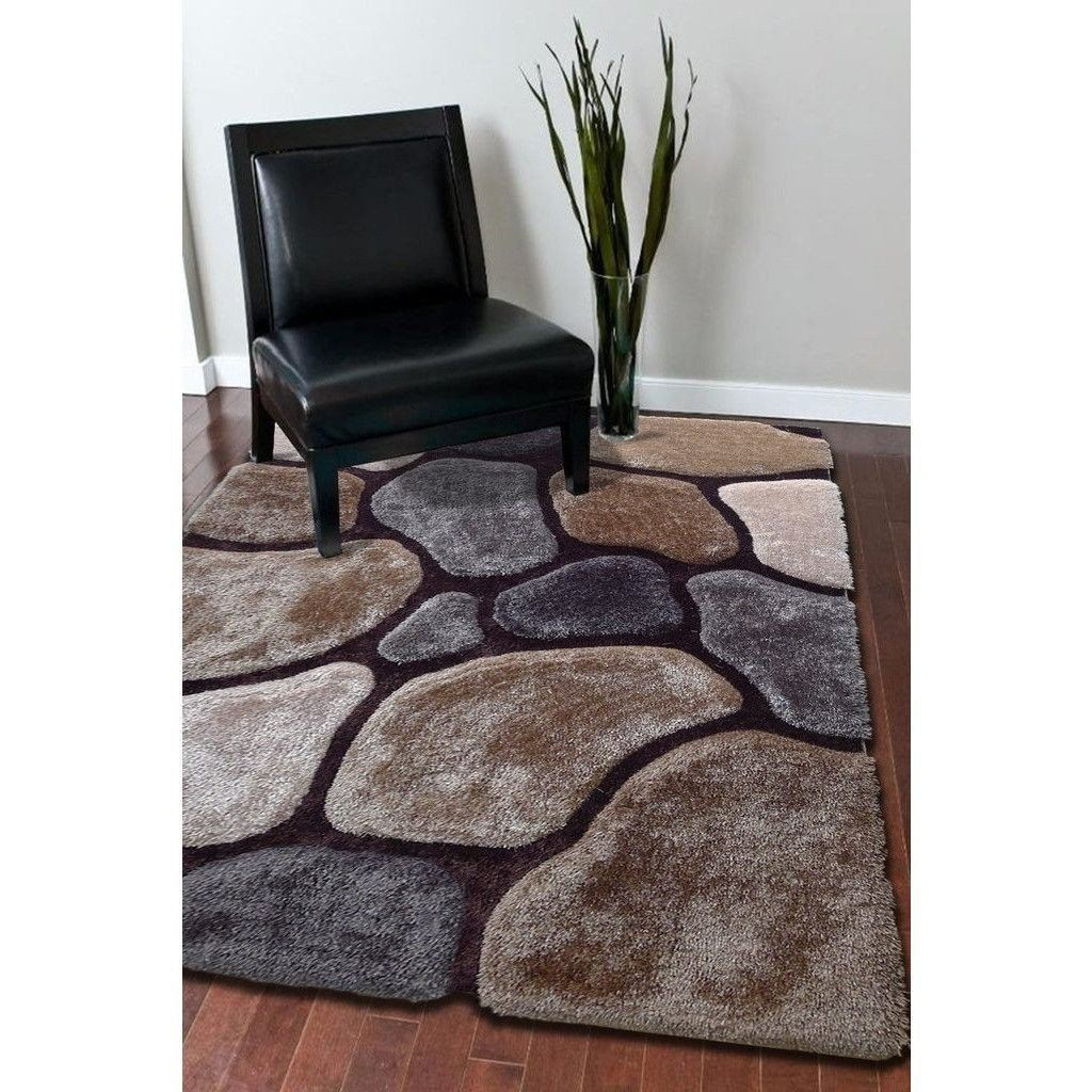 Synthetic Rug - Rug Factory Plus, Rocks Collection, Hand-Tufted Area Rug, Beige/Gray Earth